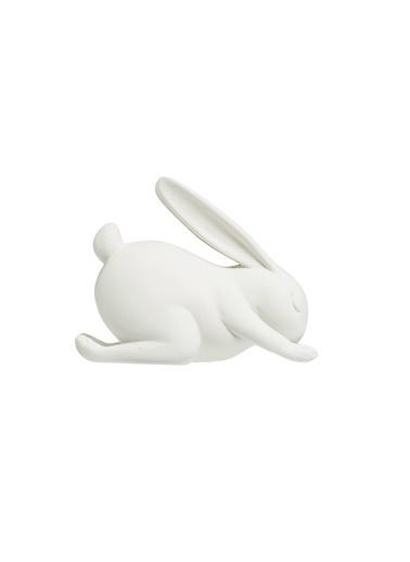 Warm Design Yoga Yapan Tavşan Dekoratif Obje  Beyaz